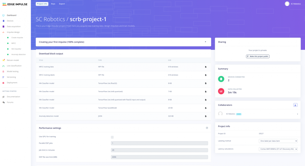 edge impulse scrb project dashboard